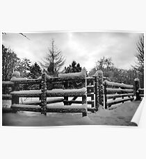 Fence in the snow Poster