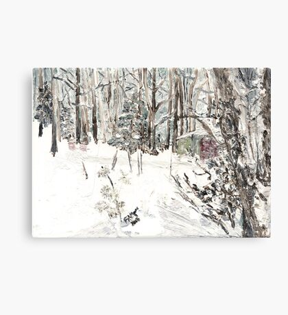 Toolshed at Woods' Edge, in Snow Canvas Print