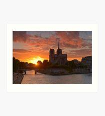 Cathédrale Notre-Dame de Paris au coucher de soleil Impression artistique