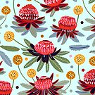Waratahs and Craspedia (Mint)  by TigaTiga