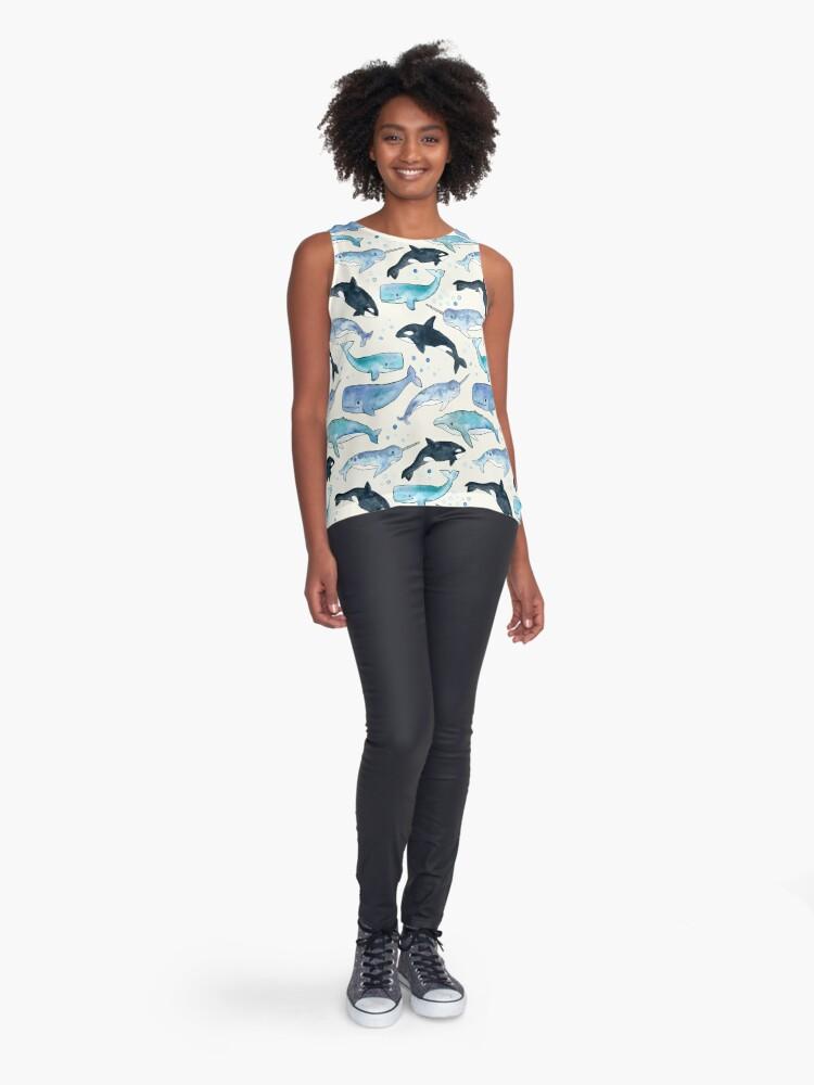 Vista alternativa de Blusa sin mangas Ballenas, Orcas y Narwhals