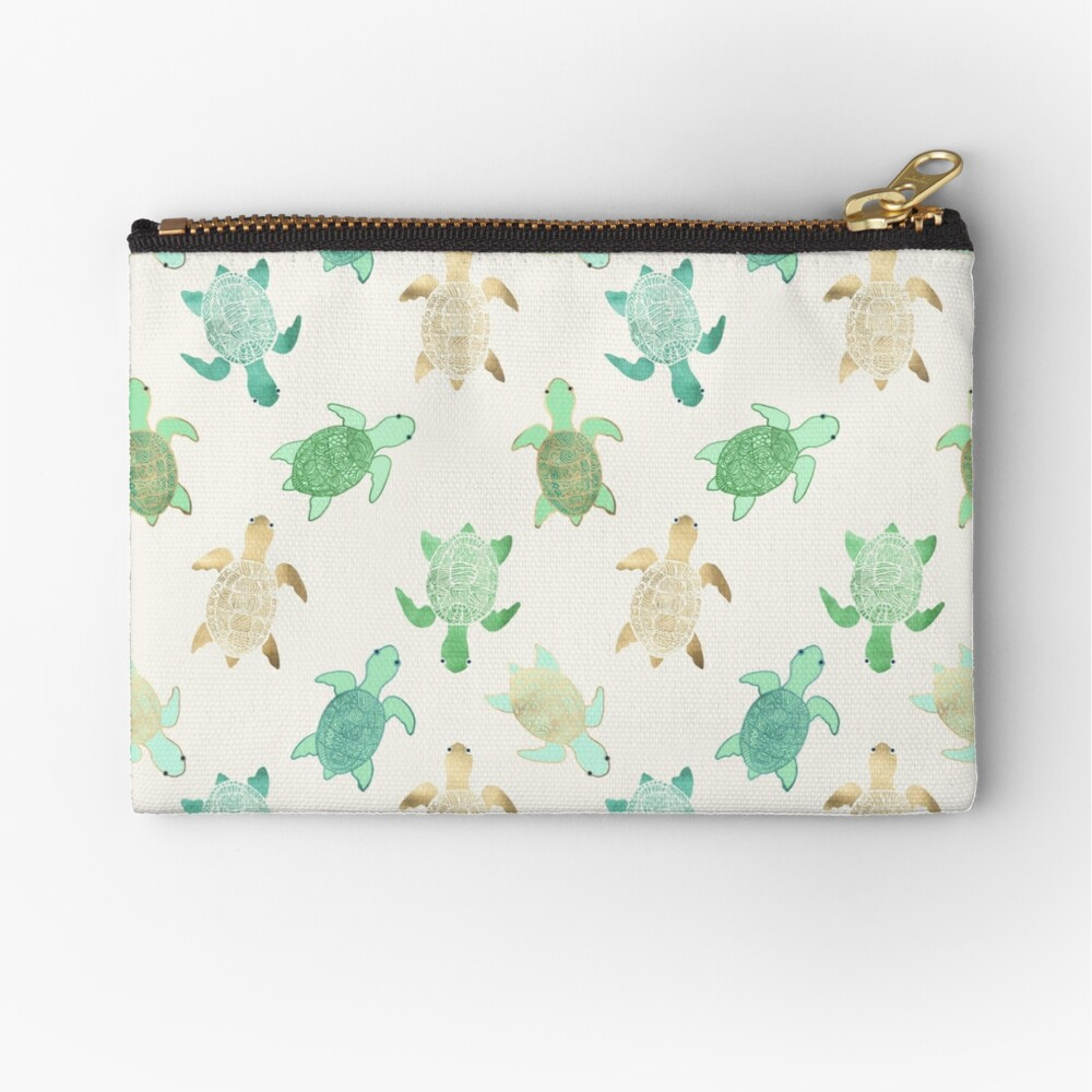 Gilded Jade & Mint Turtles Zipper Pouch