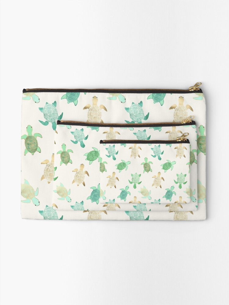 Alternate view of Gilded Jade & Mint Turtles Zipper Pouch