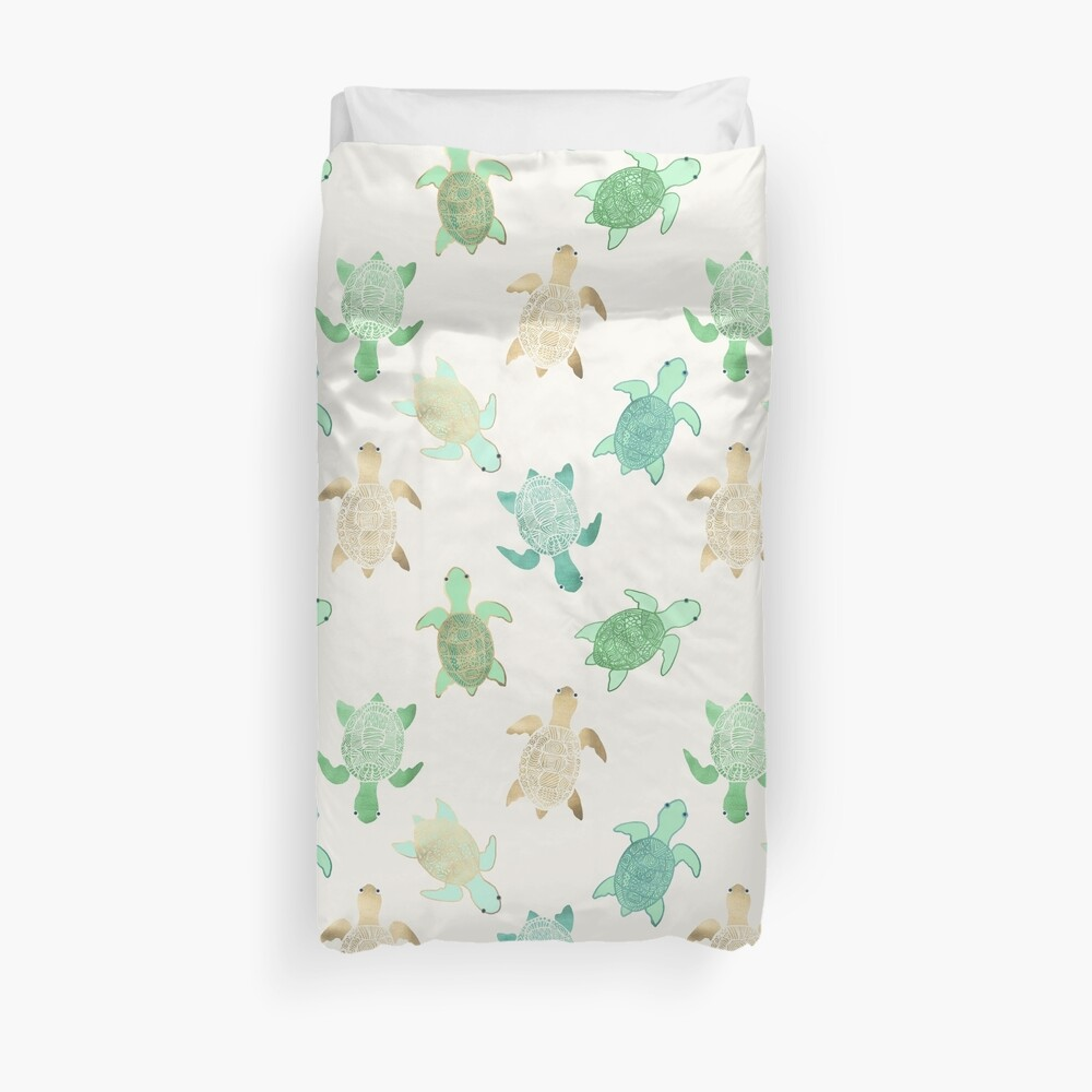 Gilded Jade & Mint Turtles Duvet Cover