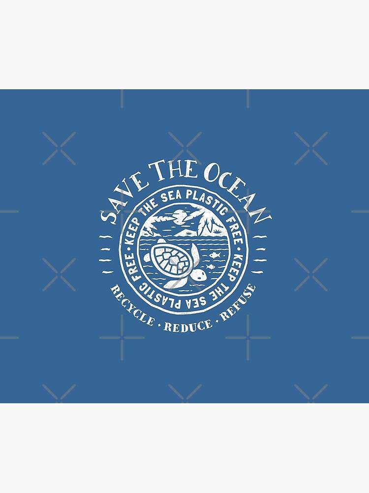 Save The Ocean - Mantenga el mar libre de plástico - Escena en Turtle Beach de Bangtees