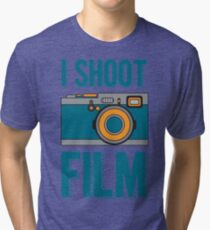 I Shoot Film - Vintage Camera Design Tri-blend T-Shirt
