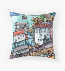 Harbour Calm, Tenby, Wales Throw Pillow