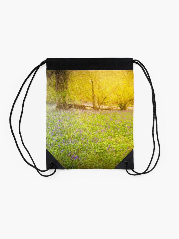 Alternate view of April Springtime Shower in the Ancient Woodland of Bluebells Drawstring Bag