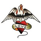 Traditional American Love Eagle Tattoo Design by FOREVER TRUE TATTOO