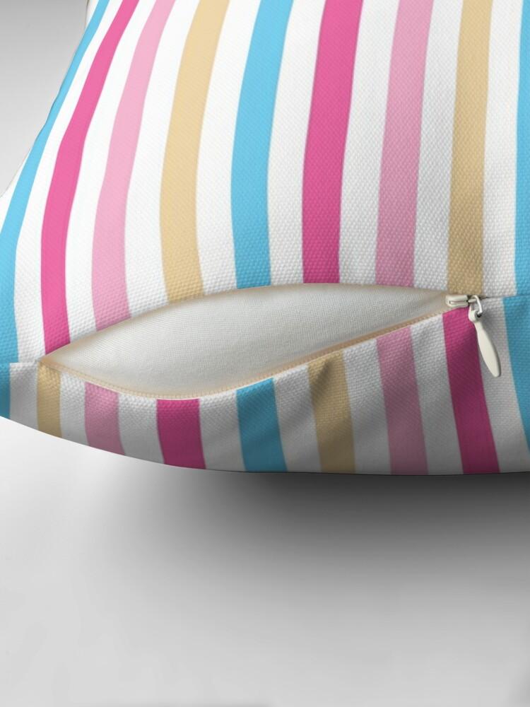 Alternate view of Rose Pink Light Blue Vertical Pattern Stripes Floor Pillow