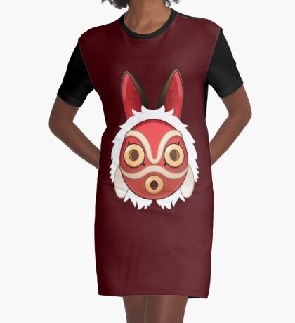 Mononokes' Mask Graphic T-Shirt Dress