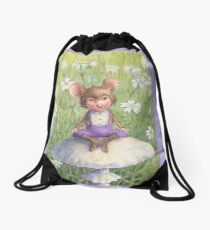 Mosely - cute little mouse-pixie Drawstring Bag