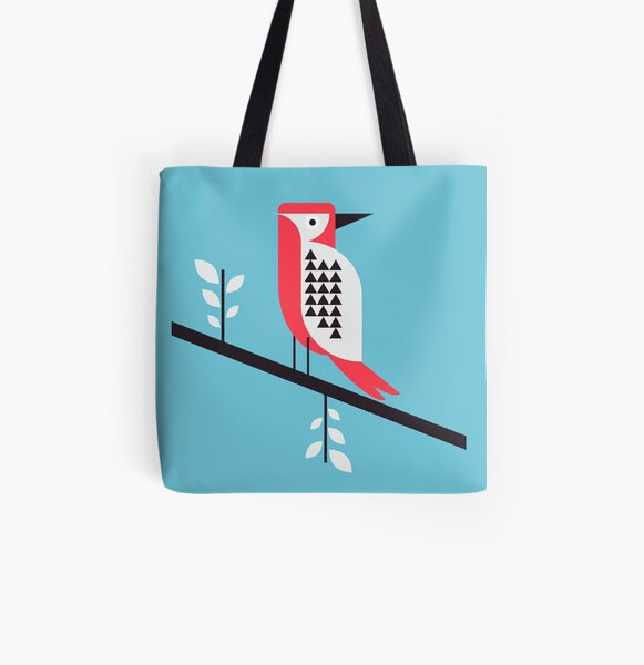 Woodpecker in blue All Over Print Tote Bag