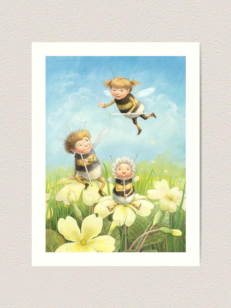 Alternate view of The Bimbles - Cute bee-pixie family Art Print