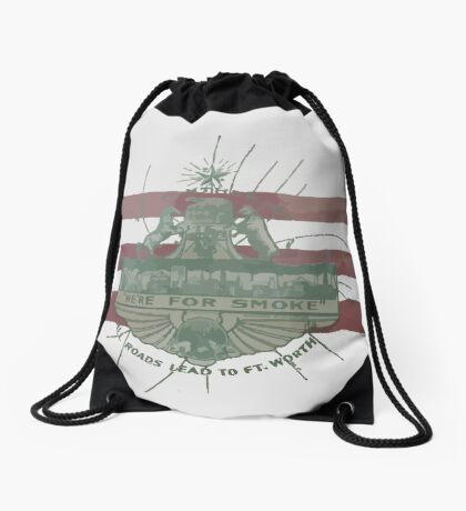 Old Fort Worth Flag - We're For Smoke - All Roads Lead to Ft. Worth Drawstring Bag
