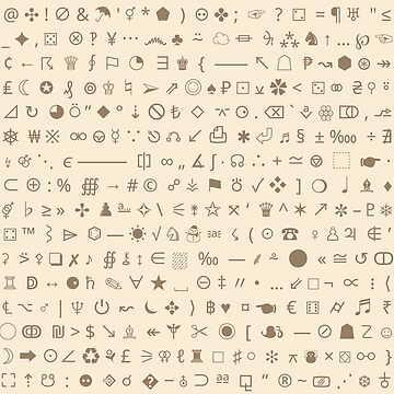 Esoteric symbols mug - Unicode special characters - brown/parchment