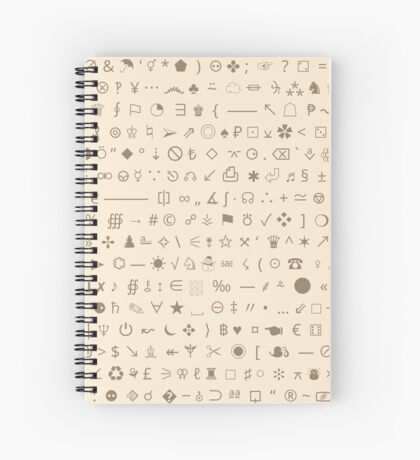 Esoteric symbols notebook - Unicode special characters - brown/parchment Spiral Notebook