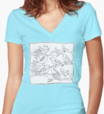 Just Add Colour - Birds of a Feather Fitted V-Neck T-Shirt