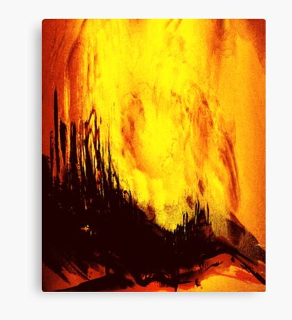 fireball sunset over a rural setting Canvas Print
