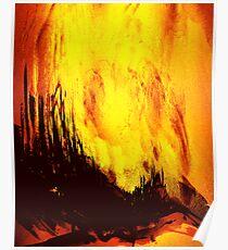 fireball sunset over a rural setting Poster