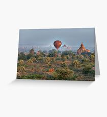 Ballons ride over temples of Bagan Greeting Card