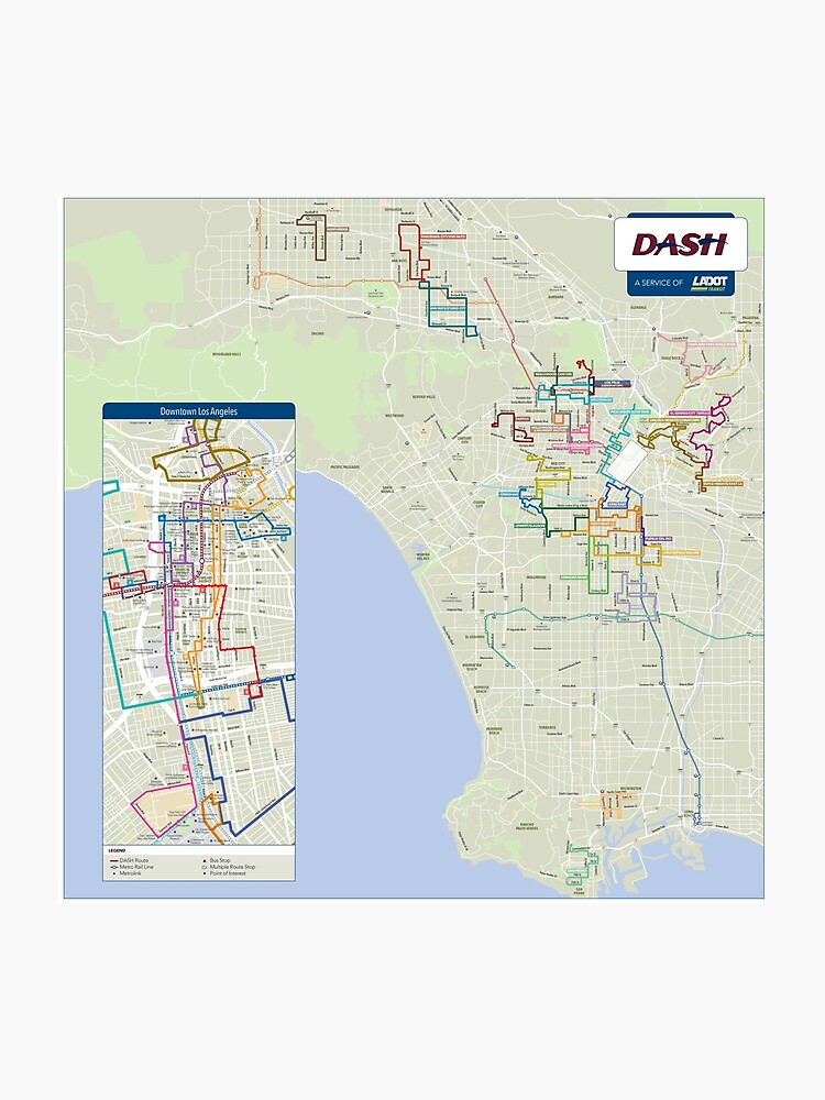 Map Of America Los Angeles.United States Of America Los Angeles Ladot Dash Map Hd Photographic Print
