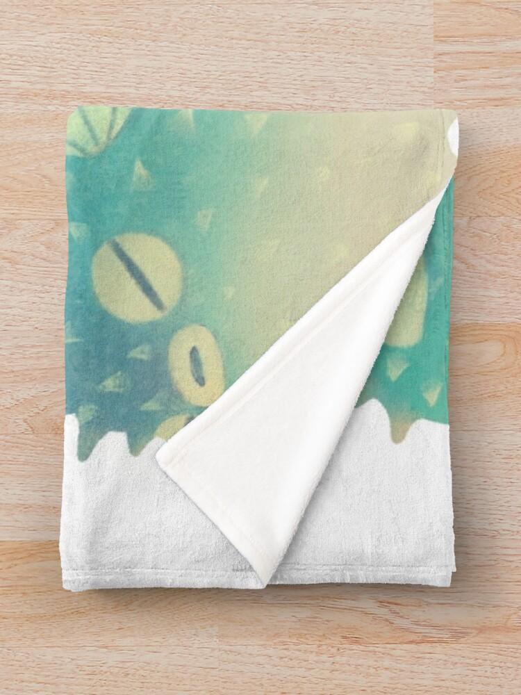 Alternate view of Hmph - Pufferfish Throw Blanket