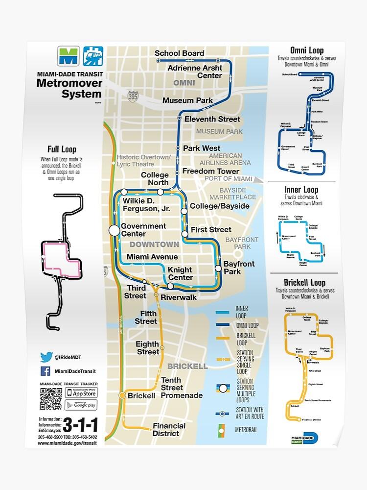 Miami Mapa Estados Unidos.Estados Unidos De America Miami Metromover System Map Hd Poster