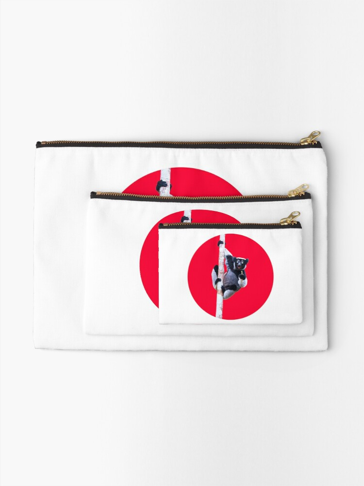Alternate view of Indri indri sitting in the tree Zipper Pouch