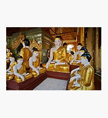 different sitting Buddhas in a circle in SHWEDAGON PAGODA Photographic Print