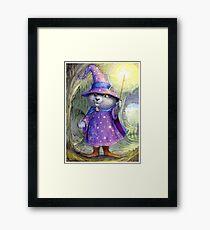 Purlin the Grey - wizard cat Framed Art Print