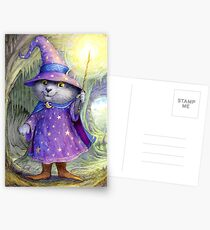Purlin the Grey - wizard cat Postcards