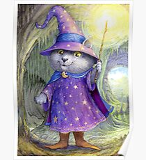 Purlin the Grey - wizard cat Poster