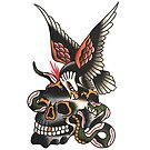 Traditional Eagle and Snake with Skull Tattoo Design by FOREVER TRUE TATTOO
