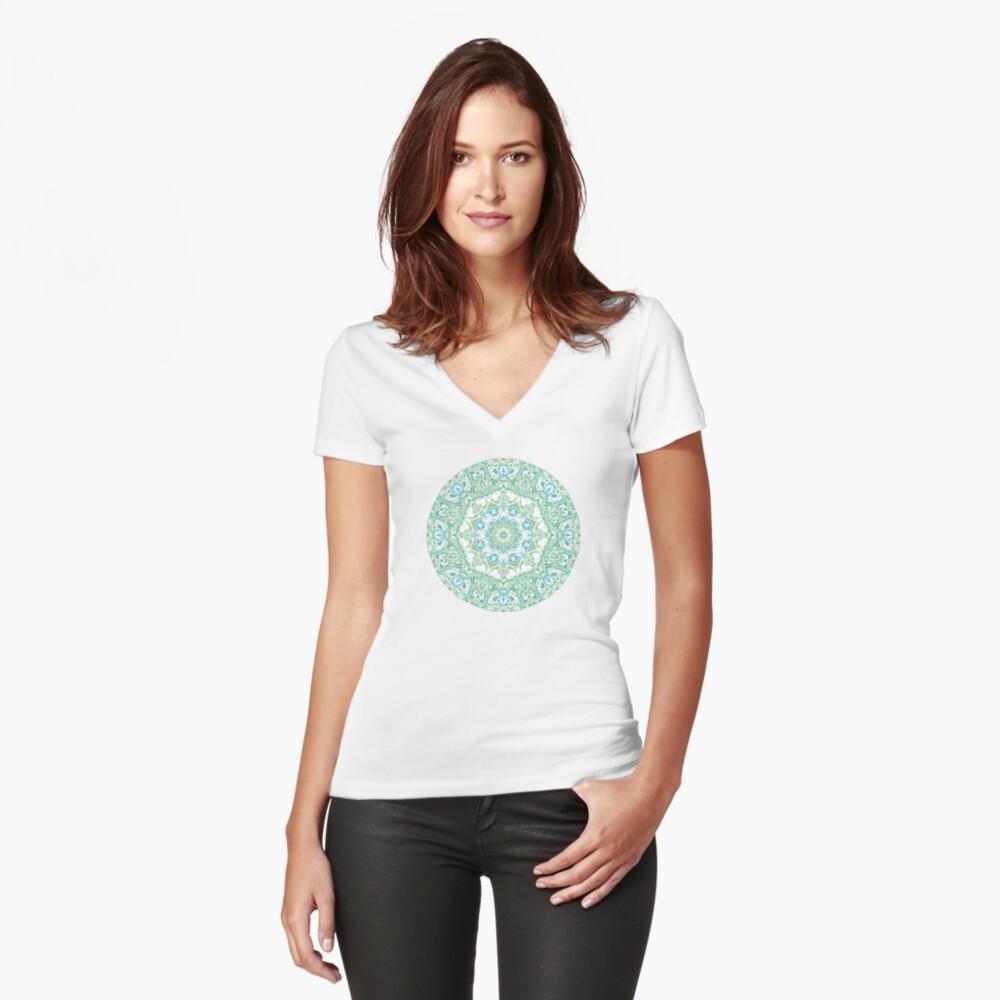 Sea Green Mandala Fitted V-Neck T-Shirt