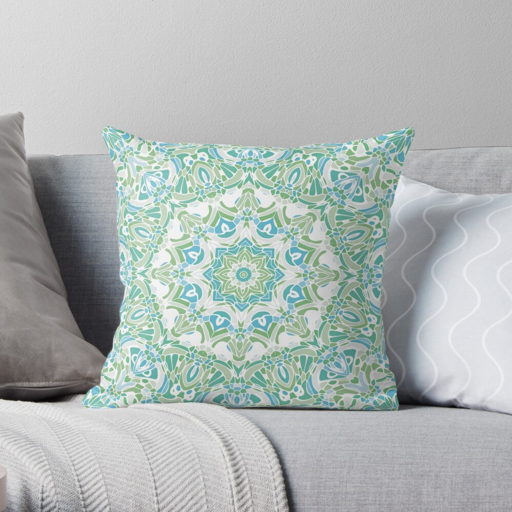 Sea Green Mandala Throw Pillow