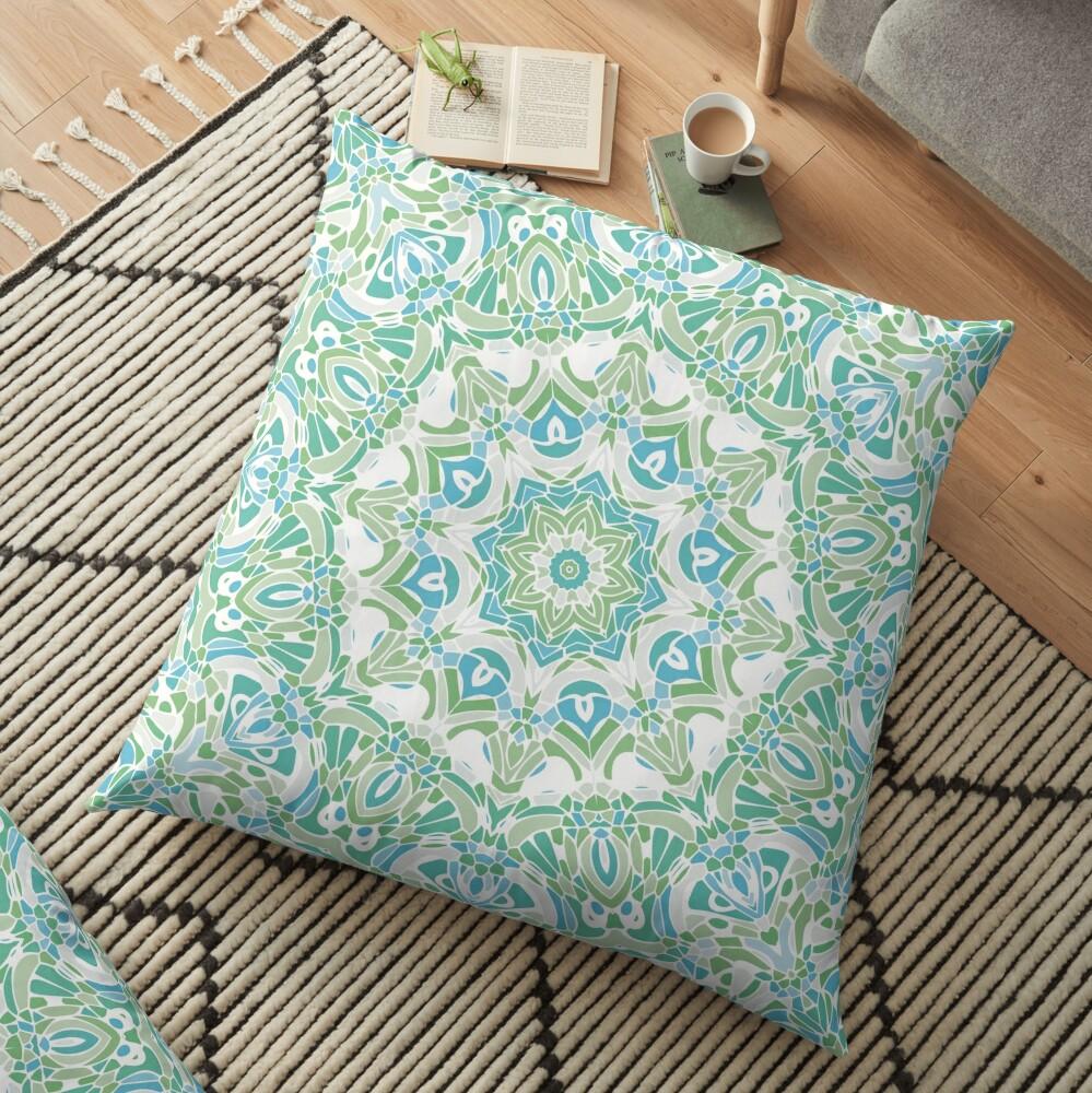 Sea Green Mandala Floor Pillow