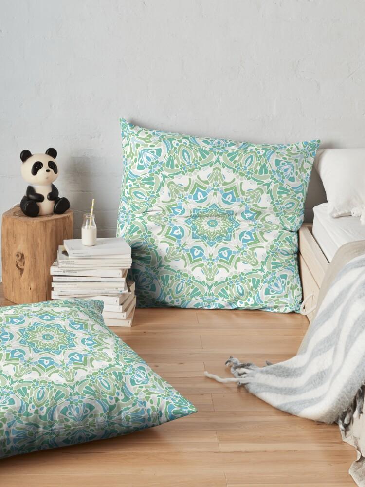 Alternate view of Sea Green Mandala Floor Pillow