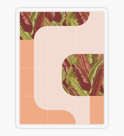 Mid-Century Tropical Mood #redbubble #tropical Transparent Sticker