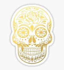 Gold Sugar Skull Sticker