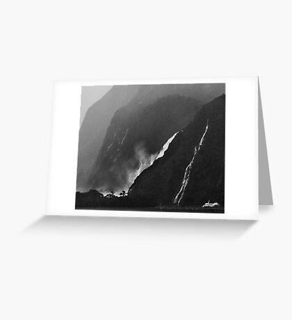 Milford Waterfalls Greeting Card