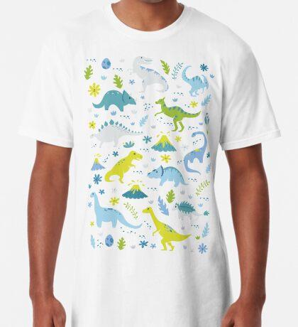 Kawaii Dinosaurs in Blue + Green Long T-Shirt