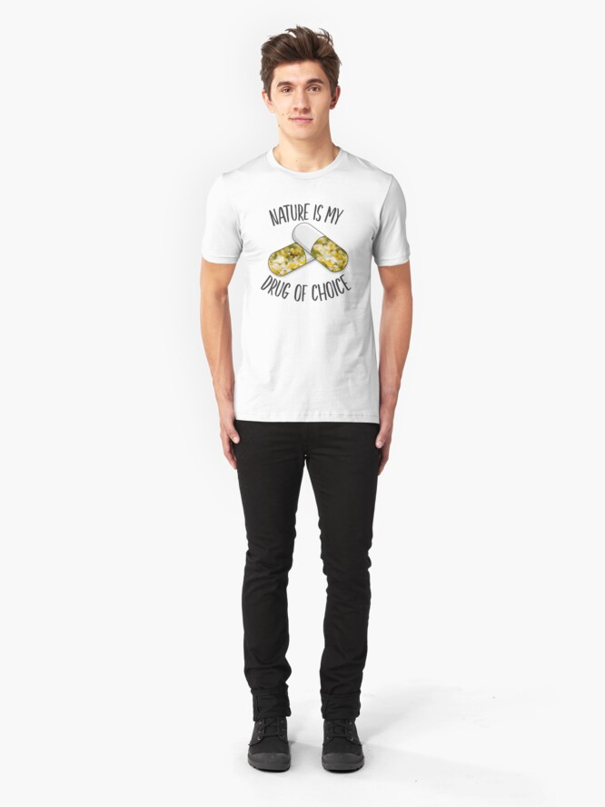 Alternate view of Nature is my Drug - Bee Slim Fit T-Shirt