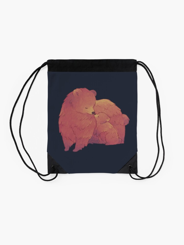 Alternate view of Mama Bear & Cub - [Dark BG] Drawstring Bag
