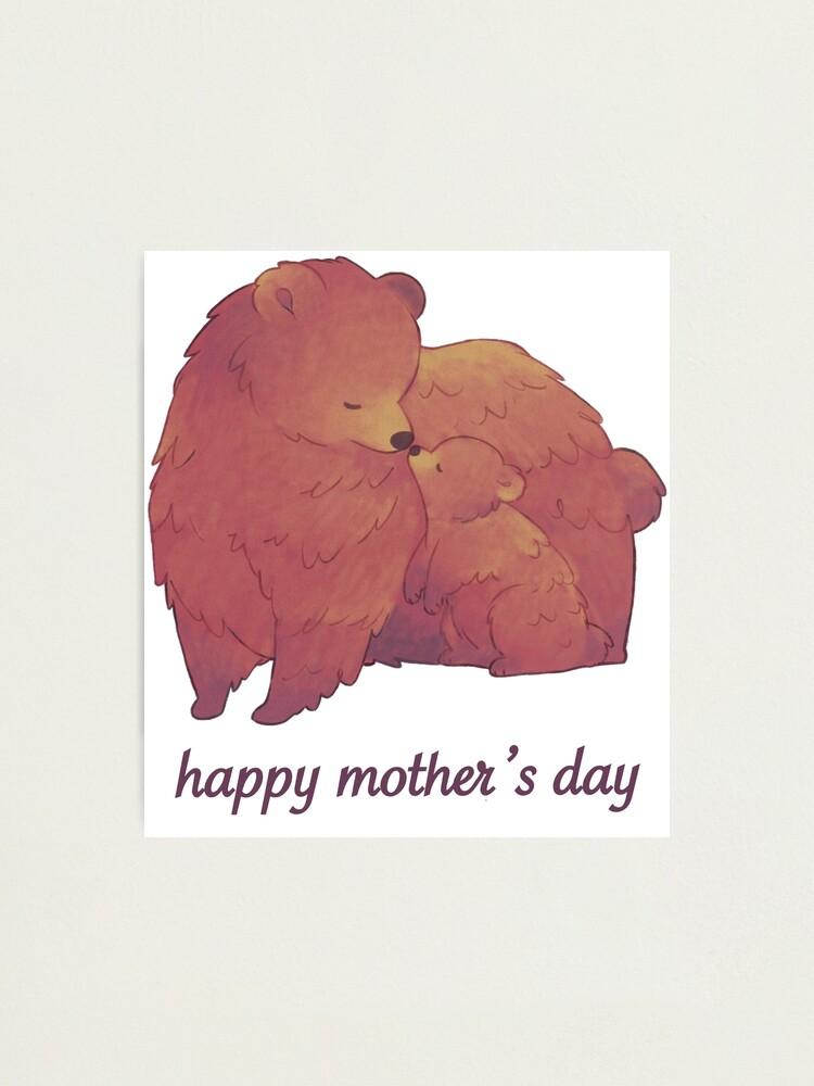 Alternate view of Happy Mothers Day - Mama Bear & Cub [Light BG] Photographic Print