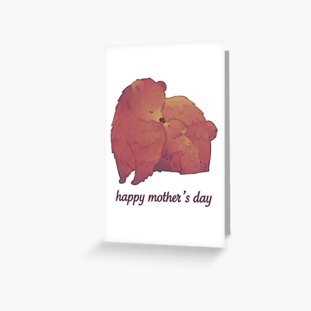 Happy Mothers Day - Mama Bear & Cub [Light BG] Greeting Card
