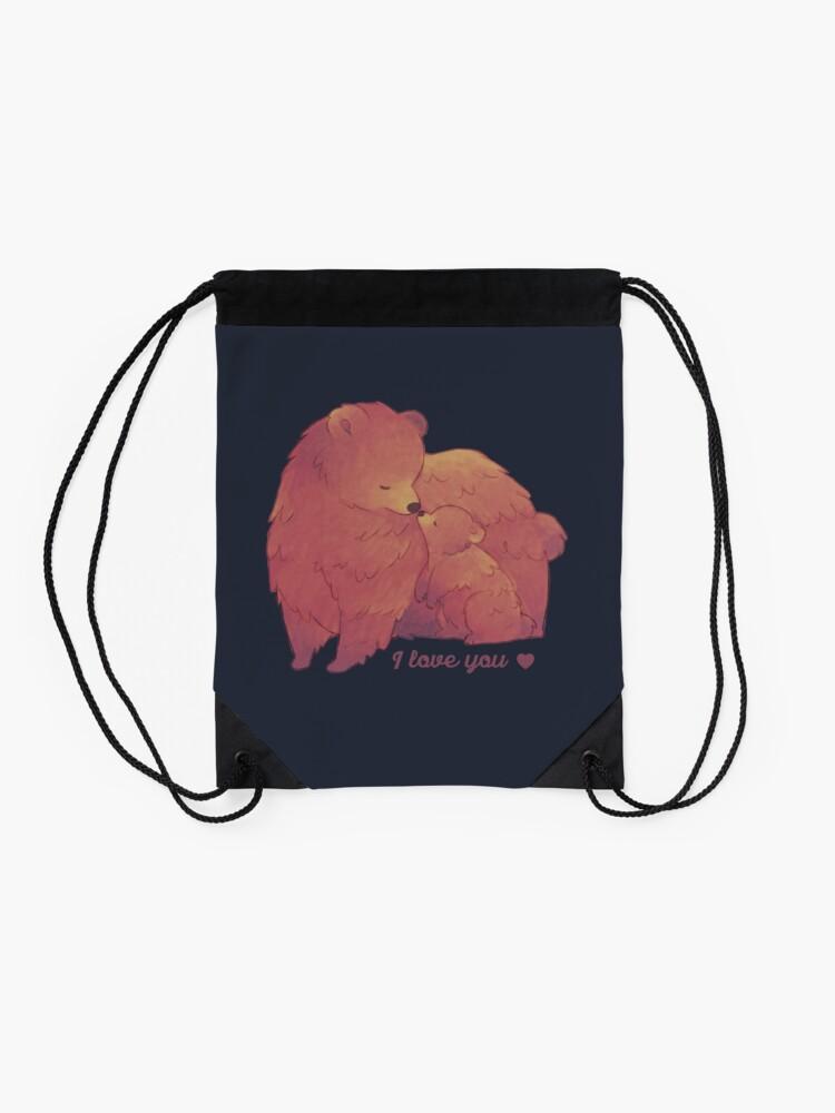 Alternate view of Happy Mothers Day 2 - Mama Bear & Cub [Dark BG] Drawstring Bag