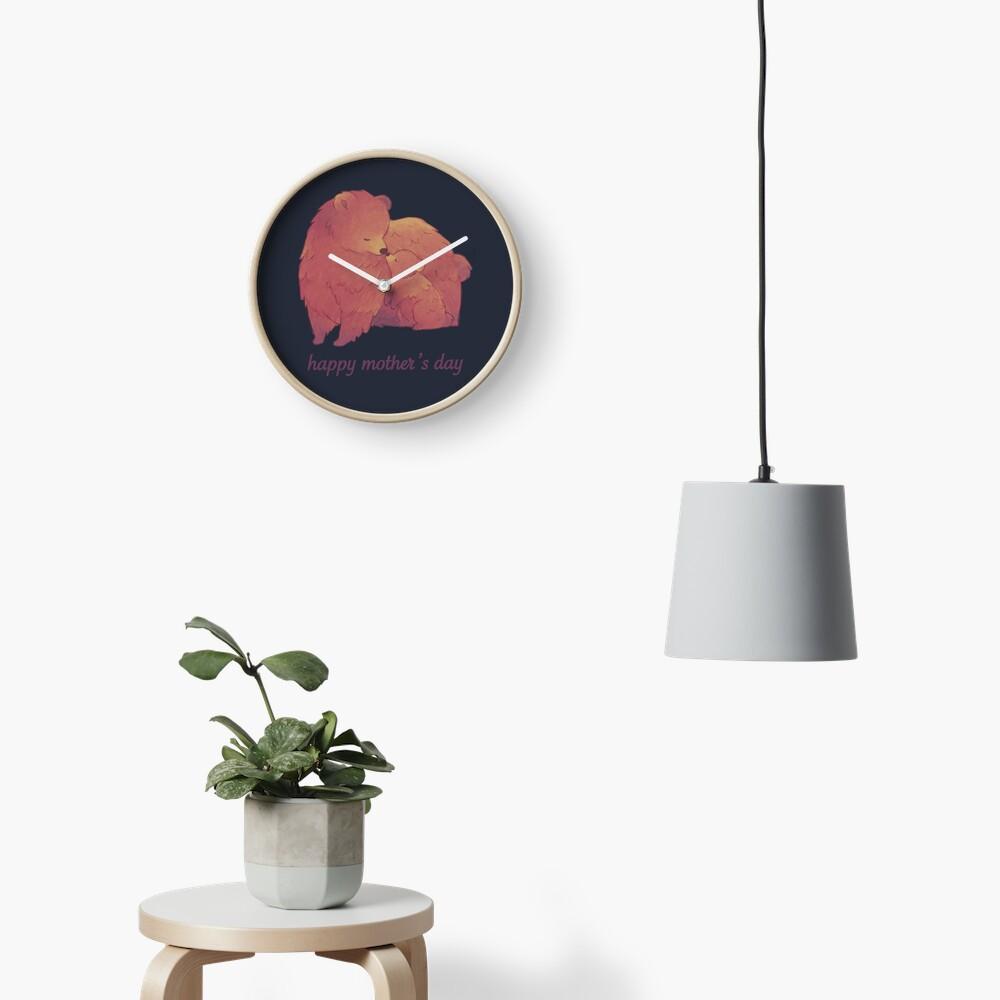 Happy Mothers Day - Mama Bear & Cub [Dark BG] Clock