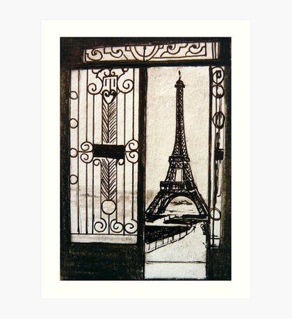 Postcard from Paris III - watercolour on paper Art Print