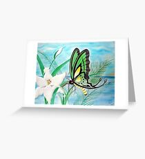 Butterfly and Lily Pastel Greeting Card